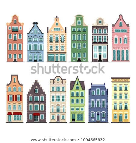 Vector flat style illustration of Netherlands traditional houses Stock photo © curiosity