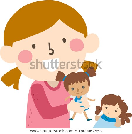 Two girls. Illustration of a cute little girl and her doll. isol Stock photo © NikoDzhi