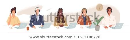 call · center · mulher · ícone · projeto · negócio · assinar - foto stock © nikodzhi