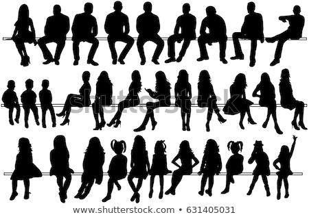cara · menina · sessão · banco · homem · mulher - foto stock © tekso