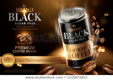 Zwarte koffie bonen houten tafel hout achtergrond ruimte Stockfoto © master1305