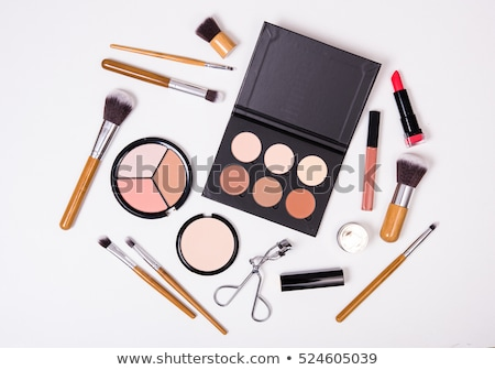 Stok fotoğraf: Professional Makeup Tools Flatlay On White Background