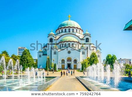 Cathédrale Belgrade nuit Serbie ville vert Photo stock © simply
