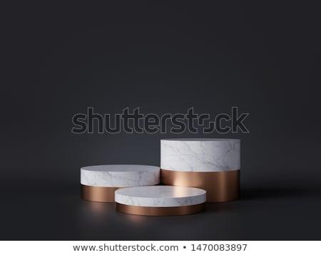 Beyaz silindir podyum üç rütbe Stok fotoğraf © Oakozhan