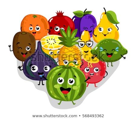 Rajz gyümölcs ananász kabala karakter remek Stock fotó © Krisdog