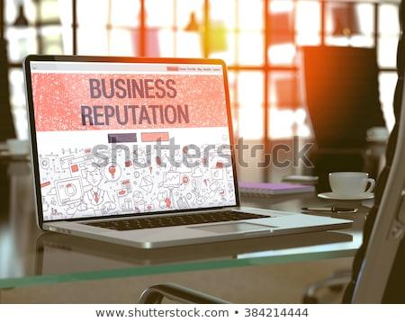 vezetőség · kék · világtérkép · társasági · ikonok · információ - stock fotó © tashatuvango