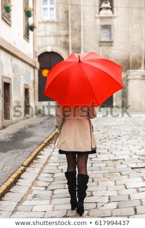 Nő piros esernyő eső tó szomorú Stock fotó © stevanovicigor
