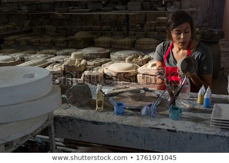 Homme mug poterie atelier affaires téléphone Photo stock © wavebreak_media