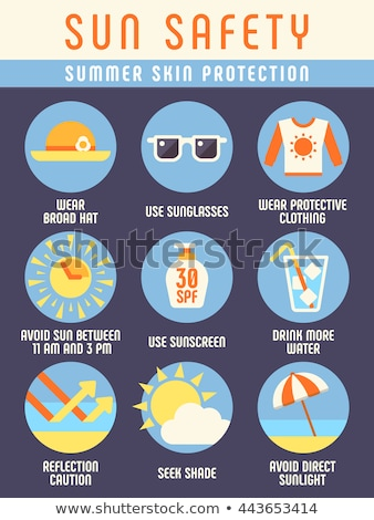 Sunscreen set with sun protection cream, lotion and water solar on the beach Stock photo © adrenalina