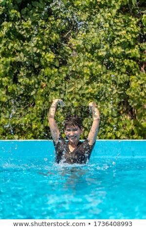 Jolie jeune fille cheveux courts dentelle vêtements noir fille Photo stock © fotoduki