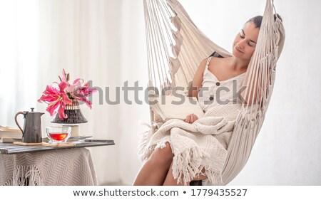Girl asleep in hammock Stock photo © IS2