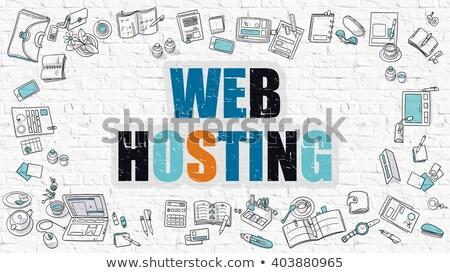 Web hosting beyaz karalama stil simgeler Stok fotoğraf © tashatuvango