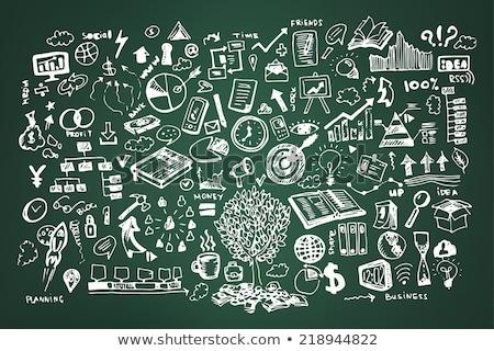 strategy concept green chalkboard with doodle icons stock photo © tashatuvango