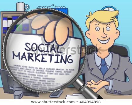 Foto stock: Social · marketing · lupa · rabisco · estilo · homem · de · negócios
