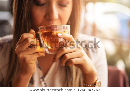 Portre mutlu kadın limon çay mutfak Stok fotoğraf © wavebreak_media