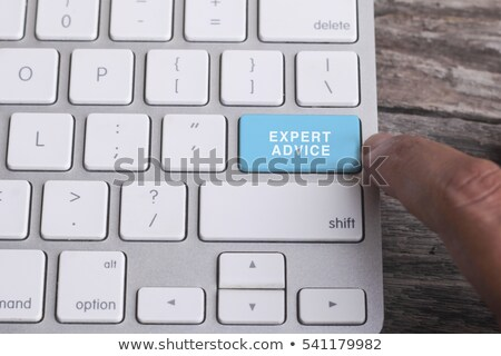 Expert conseil texte rouge clavier Photo stock © tashatuvango