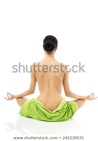 Belo topless mulher jovem toalha de volta Foto stock © dolgachov