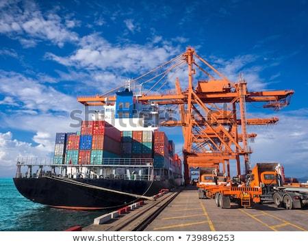 silueta · carga · grúa · puerto · puesta · de · sol · buque - foto stock © oleksandro