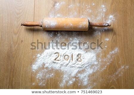 Wałkiem mąka piśmie starych biały Zdjęcia stock © StephanieFrey