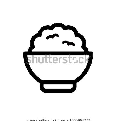 Pirinç Ikon Beyaz Restoran Boyama Yeme Vektör