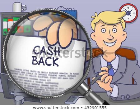 Trésorerie Retour lentille doodle homme d'affaires séance Photo stock © tashatuvango