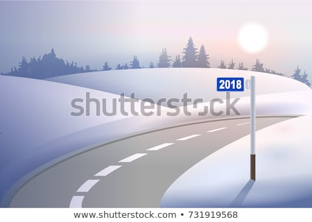 Kilometer mile pillar 2018 on winter road. Concept New Year Stock photo © orensila