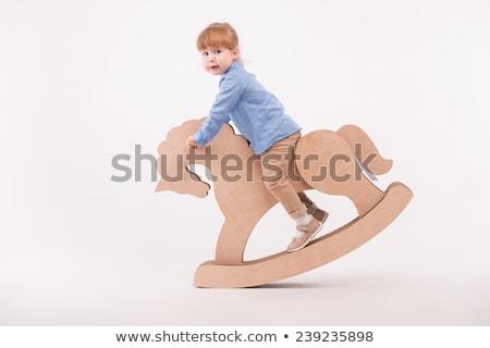 at · sallanan · örnek · siluet · çocuklar · at · oyuncak - stok fotoğraf © is2