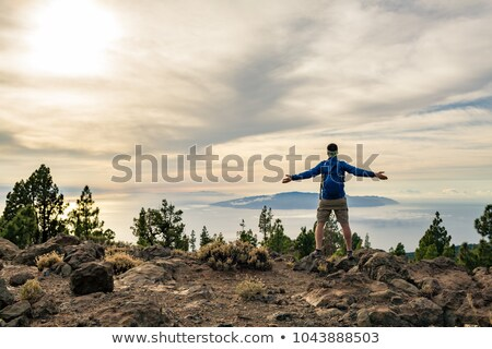 Stock photo: Man celebrating sunset in mountains with arms outstretched