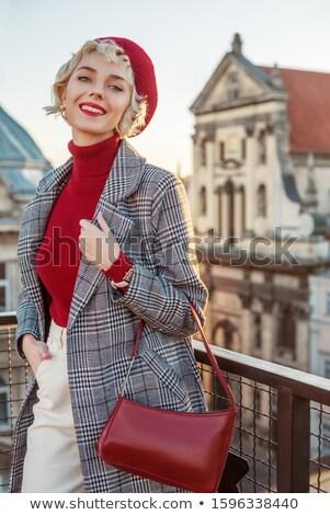 Portret kobieta czerwony beret Zdjęcia stock © deandrobot