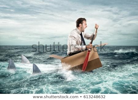 échapper · crise · affaires · hurlant · carton - photo stock © lightsource