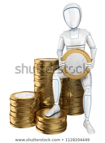 3D Humanoid robot sitting on a pile of euro coins Stock photo © texelart
