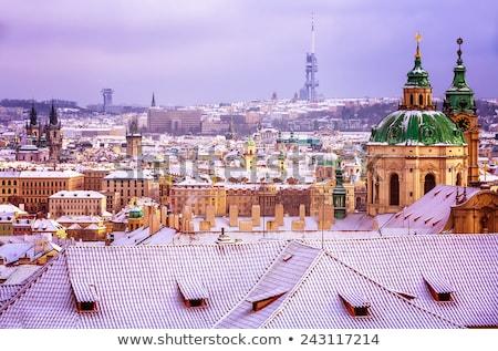 Winter in Prague - city panorama with St. Nicholas Church Stock photo © benkrut