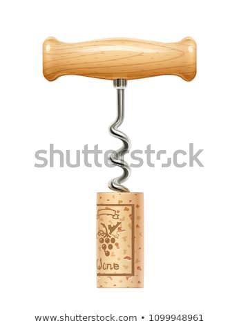 штопор · пробка · изолированный · белый · древесины · работу - Сток-фото © ajt