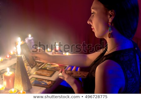 Girl Tarot Card Reader Stock photo © lenm