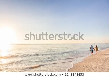 Foto stock: Romântico · casal · andar · praia · bali · caminhada