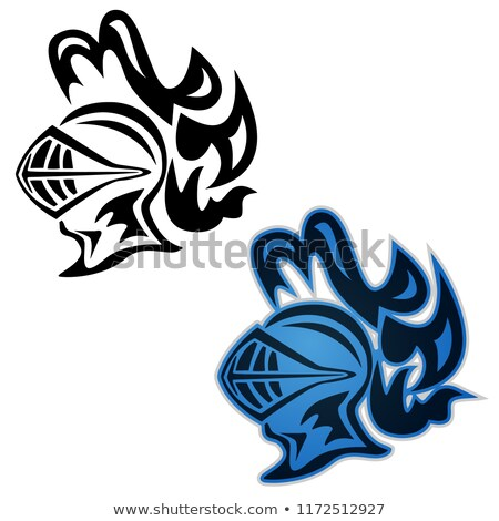 Knight symbol, side view, in black and full color, vector illustration Stock photo © jeff_hobrath