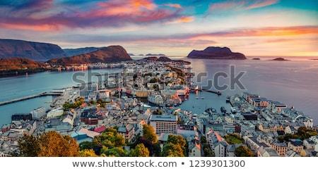 Liman şehir Norveç 14 yelkencilik yat Stok fotoğraf © Kotenko