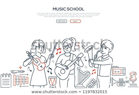 gitaar · kid · illustratie · spelen · jongen · jonge - stockfoto © decorwithme