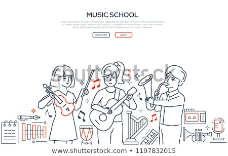 Music school - modern line design style vector banner Stock photo © Decorwithme