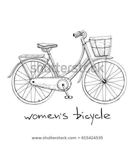 retro · bicicleta · silhueta · ícone · isolado · branco - foto stock © rastudio