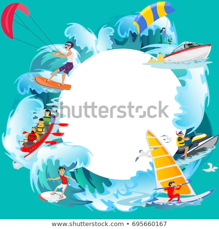 windsurfing and boating water sports illustration stock photo © robuart