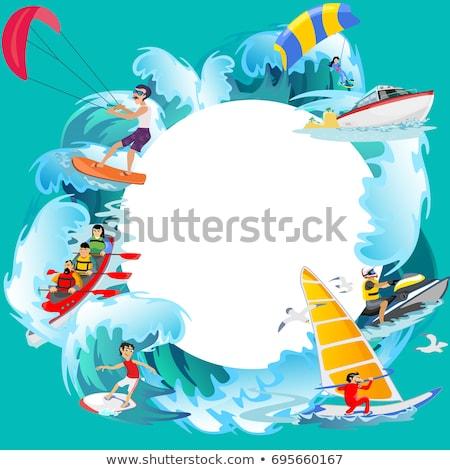 太陽 · 海 · 波 · 夏 · 水 · アイコン - ストックフォト © robuart