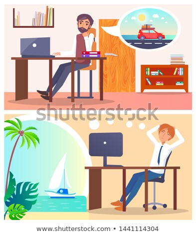 Office Employees Dream About Voyage or Road Trip Stock photo © robuart
