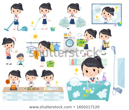 school girl sailor suit cooking stock photo © toyotoyo