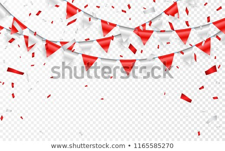 Celebration party banner. Red and silver foil confetti and flag garland. Vector illustration Stock photo © olehsvetiukha