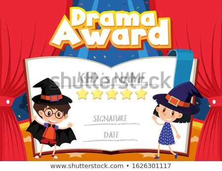 drama · gunning · certificaat · illustratie · vis · kind - stockfoto © bluering