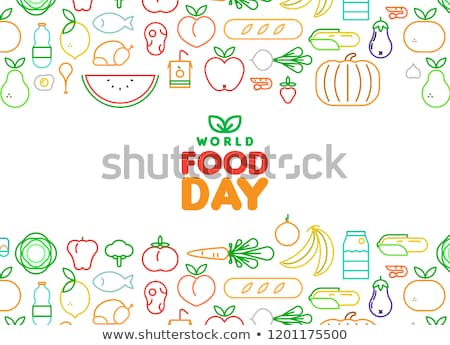 Stock photo: Food Day card of outline fruit and vegetable icons