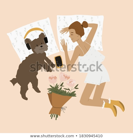 Woman and her dog in playful mood Stock photo © Kzenon
