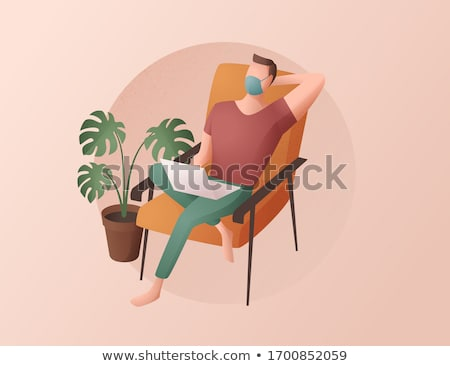 office work poster man resting at workplace vector stock photo © robuart