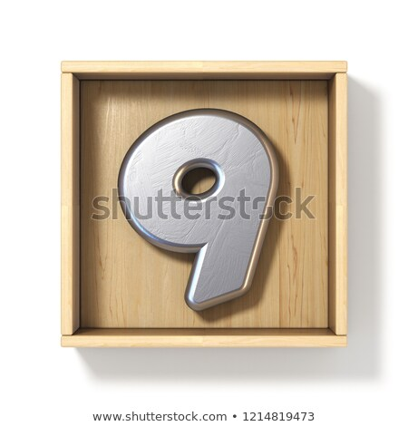 Silver metal number 9 NINE in wooden box 3D Stock photo © djmilic
